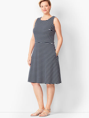 Edie Knit Fit & Flare Dress - Stripe