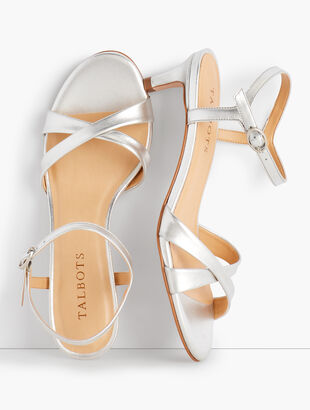 Pila Criss-Cross Leather Sandals - Metallic