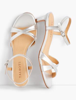 Pila Criss-Cross Leather Sandals - Metallic