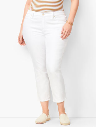 Plus Size Denim Straight Crops - Curvy Fit - White & Olivine