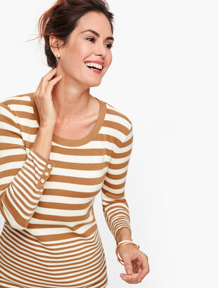 Button Cuff Sweater - Stripe