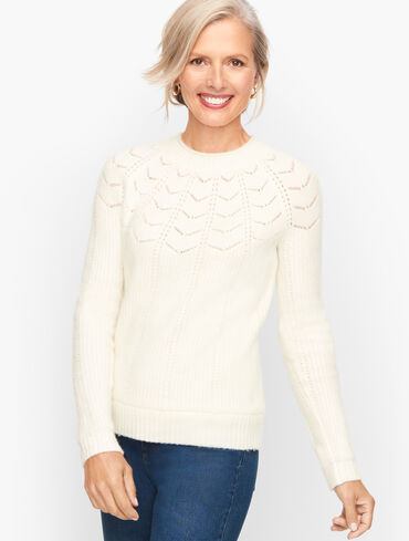 Pointelle Yoke Mockneck Sweater