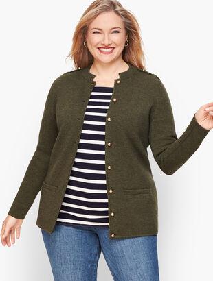 Merino Blend Military Sweater Jacket