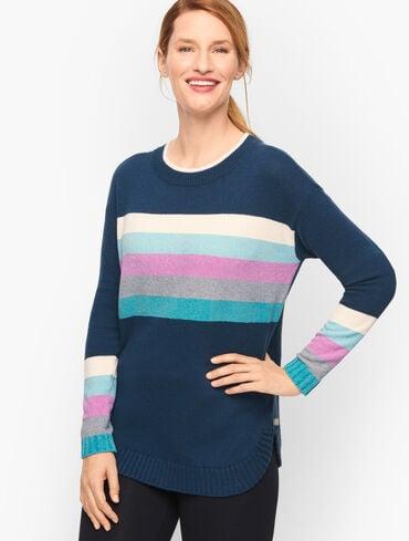 Tweed Chenille Stripe Tunic Sweater