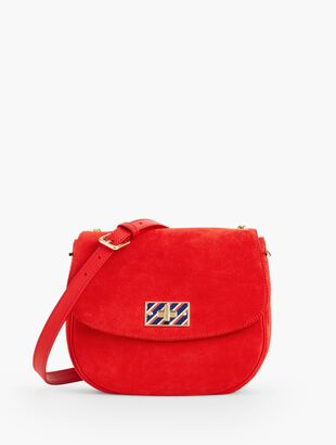 Suede Turnlock Crossbody Bag