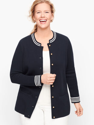 Stripe Trim Sweater Jacket