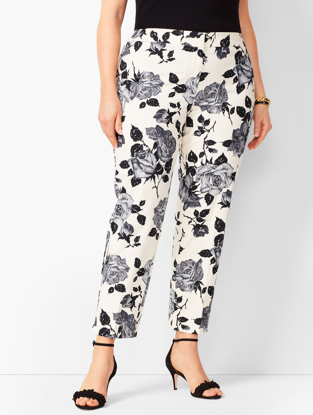 Plus Size Tailored Hampshire Ankle Pants   Tonal Floral by Talbots