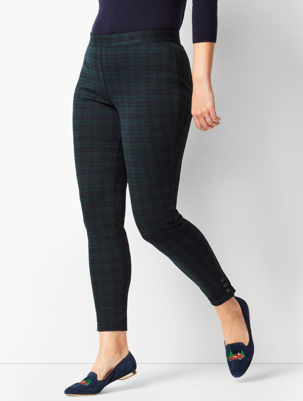 fcfeadfe2fb Ankle-Snap Ponte Leggings - Black Watch Plaid