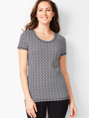 Fresh Jersey Scoop-Neck Tee - Abstract Tile