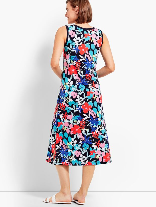 Sunny Meadow Print Slub Jersey Henley Dress