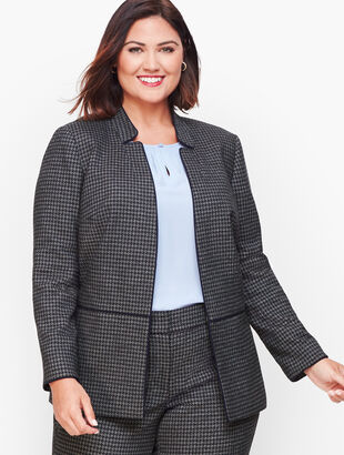 Stretch Houndstooth Tweed Jacket