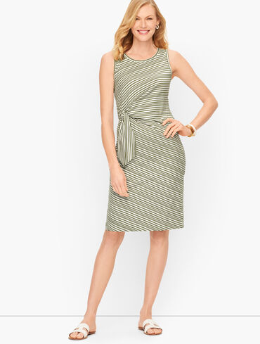 Cotton Side Tie Shift Dress - Sunday Morning Stripe