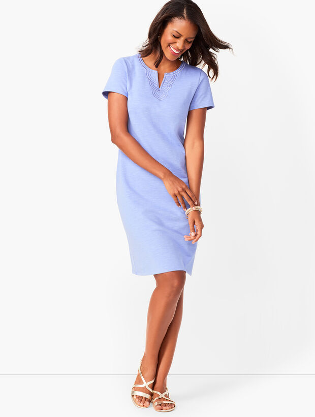 Embroidered Slub Jersey Shift Dress