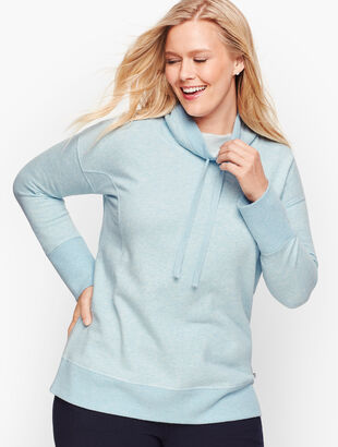 Cowlneck Heathered Fleece Pullover