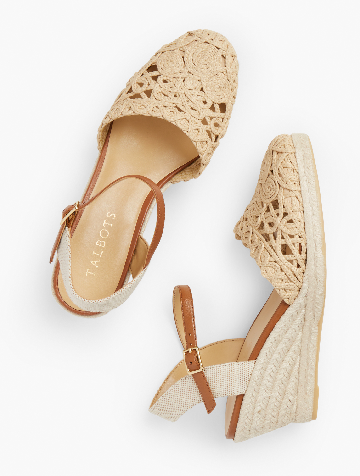 70s Clothes | Hippie Clothes & Outfits Lyndsay Lace  Raffia Espadrille Wedges - Natural - 11M Talbots $129.00 AT vintagedancer.com