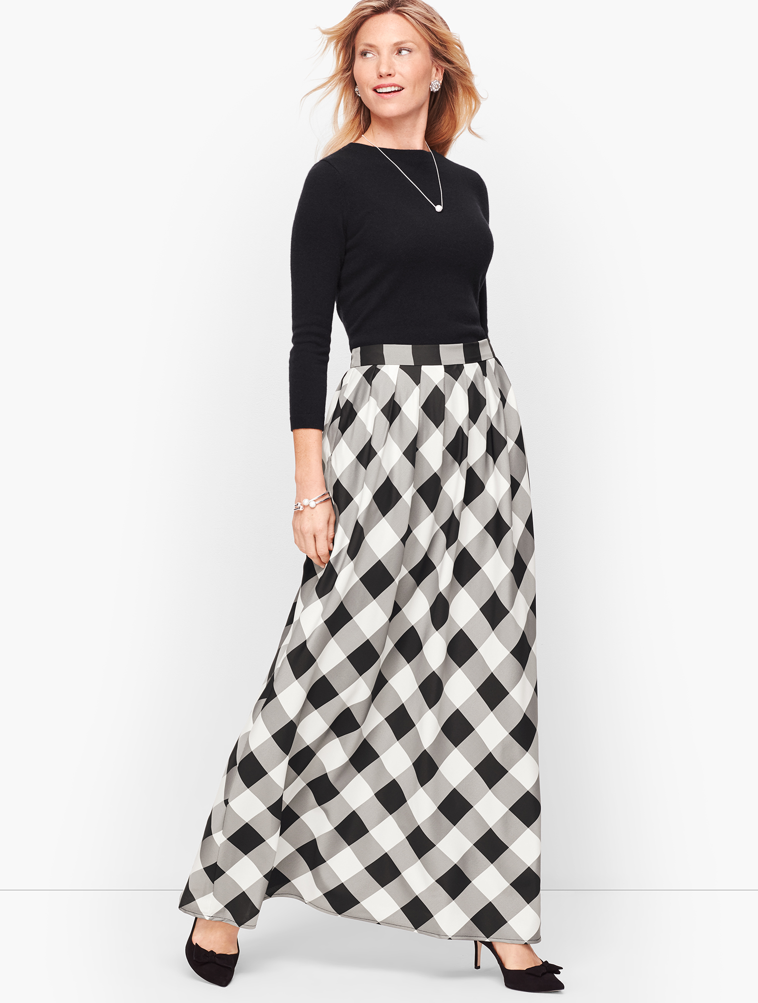 Victorian Skirts | Bustle, Walking, Edwardian Skirts Buffalo Check Pleated Maxi Skirt - BlackIvory - 16 Talbots $77.99 AT vintagedancer.com