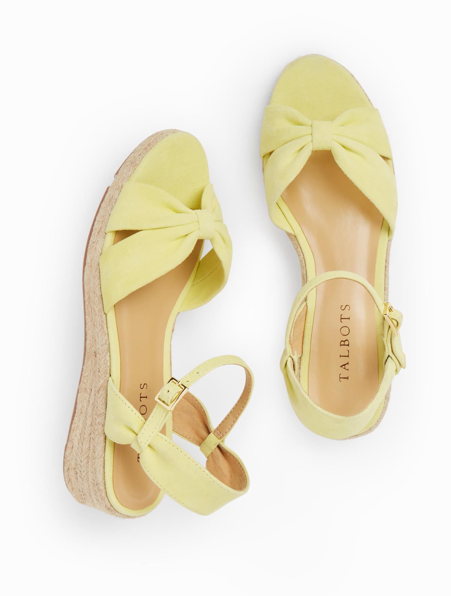 1950s Style Shoes | Heels, Flats, Boots Pamela Twist Espadrille Wedges - Kid Suede - Citrus Honey - 11M Talbots $119.00 AT vintagedancer.com
