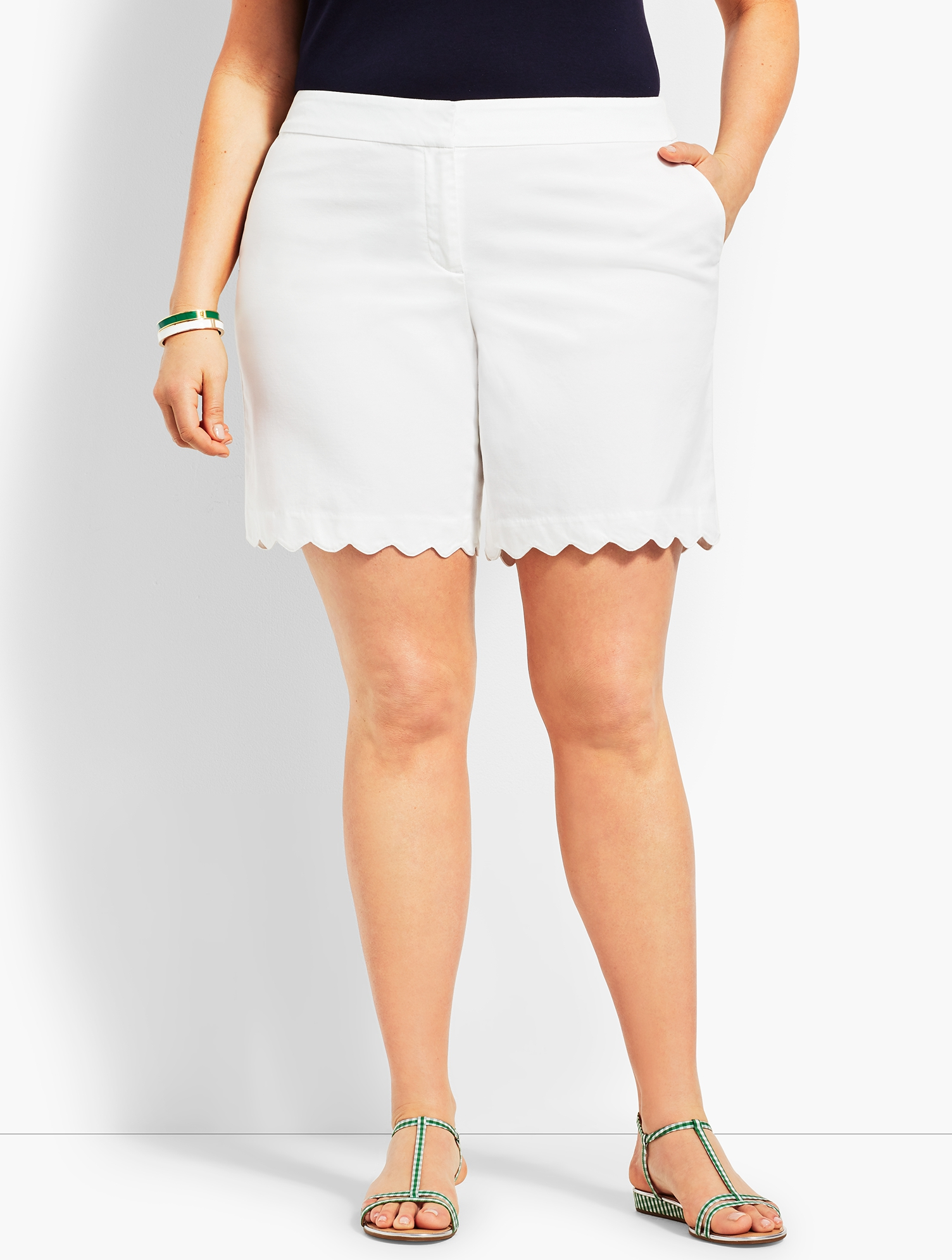 1940s Plus Size Fashion: Style Advice from 1940s to Today Womens Plus Petites Size Scallop Short - WHITE - 22 - Talbots $59.99 AT vintagedancer.com