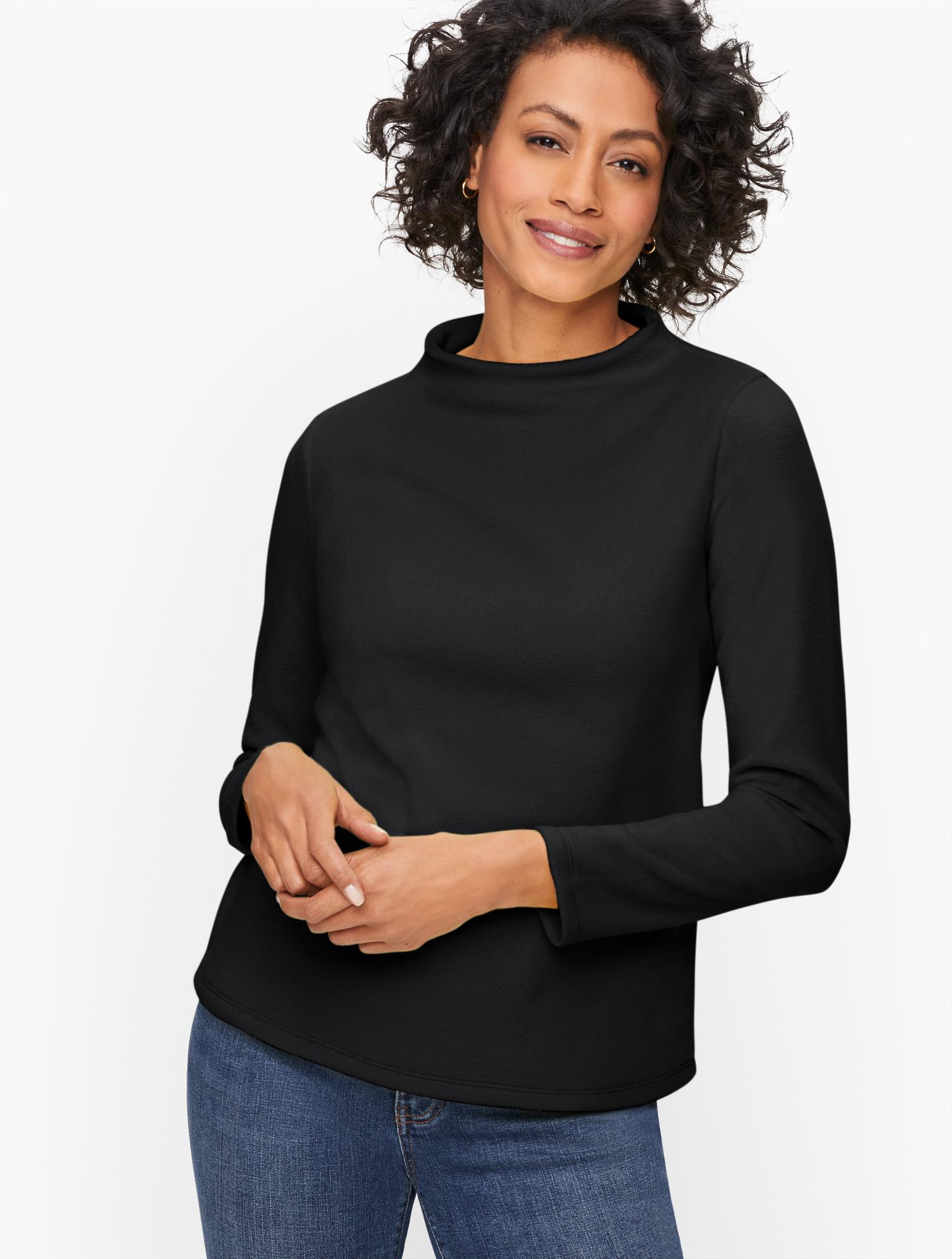 60s Shirts, T-shirts, Blouses, Hippie Shirts Microfleece Funnel Neck Top - Black - 3X Talbots $69.50 AT vintagedancer.com
