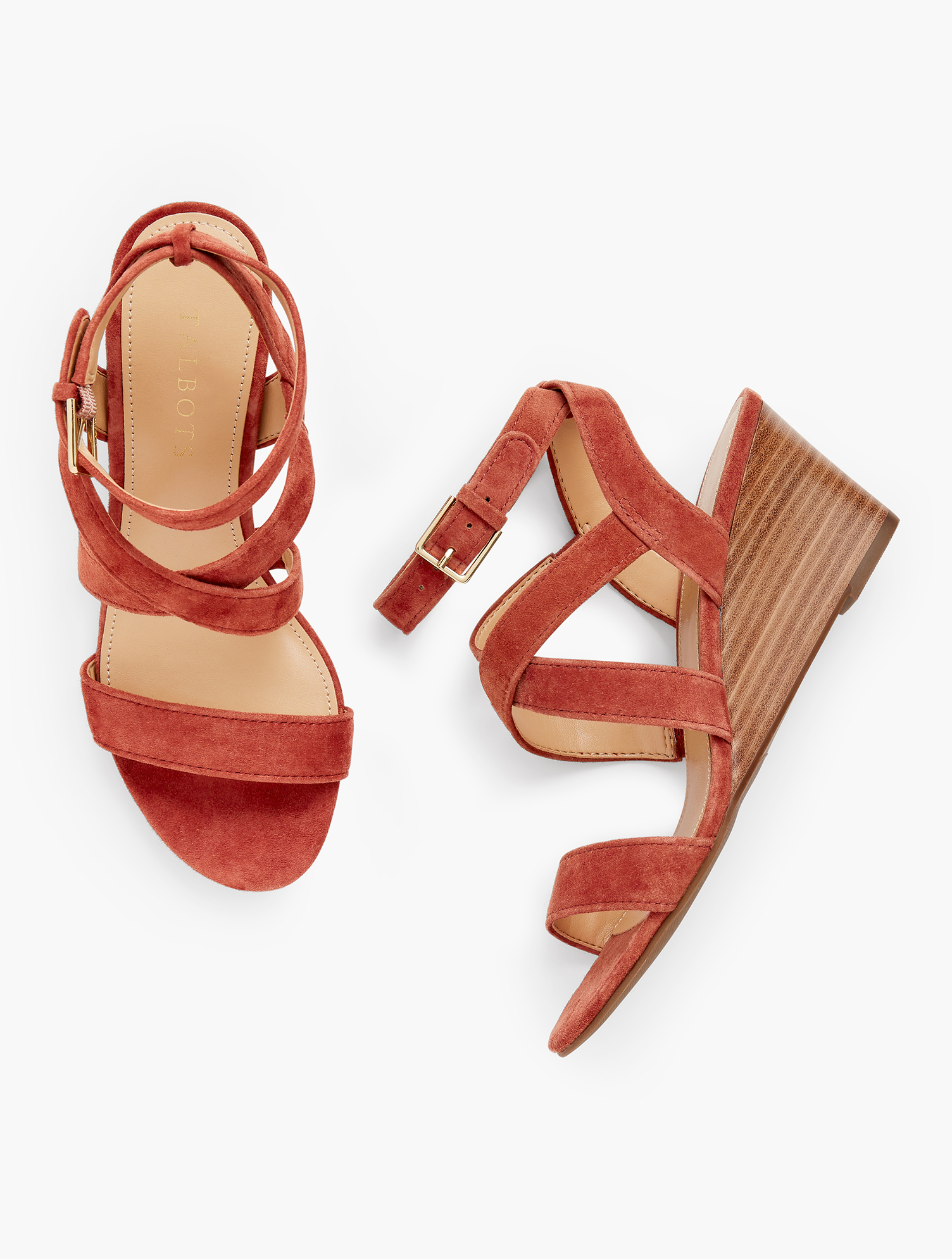 Easy-to-wear wedges that can be dressed up or down. These strappy sandals will become a warm weather staple in your wardrobe. Features 2 1/2 inches heel Almond toe 3MM Memory Foam Imported Fit: 100% Leather Royce Strappy Wedges - Suede - Amber Rust - 11M Talbots