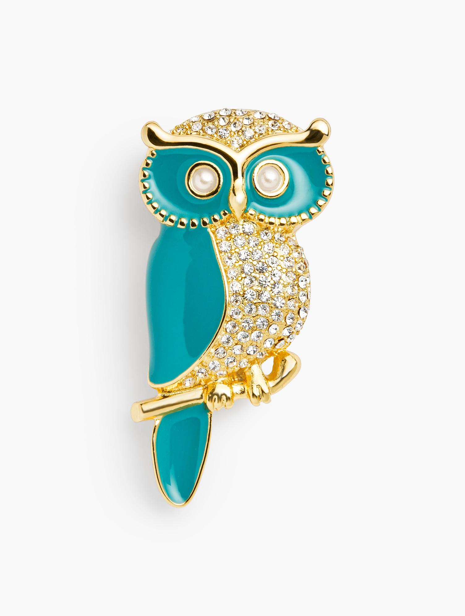 1940s Costume Jewelry: Necklaces, Earrings, Brooch, Bracelets Enamel Owl Brooch - TEAL-BLUEGOLD - OS - Talbots $49.50 AT vintagedancer.com