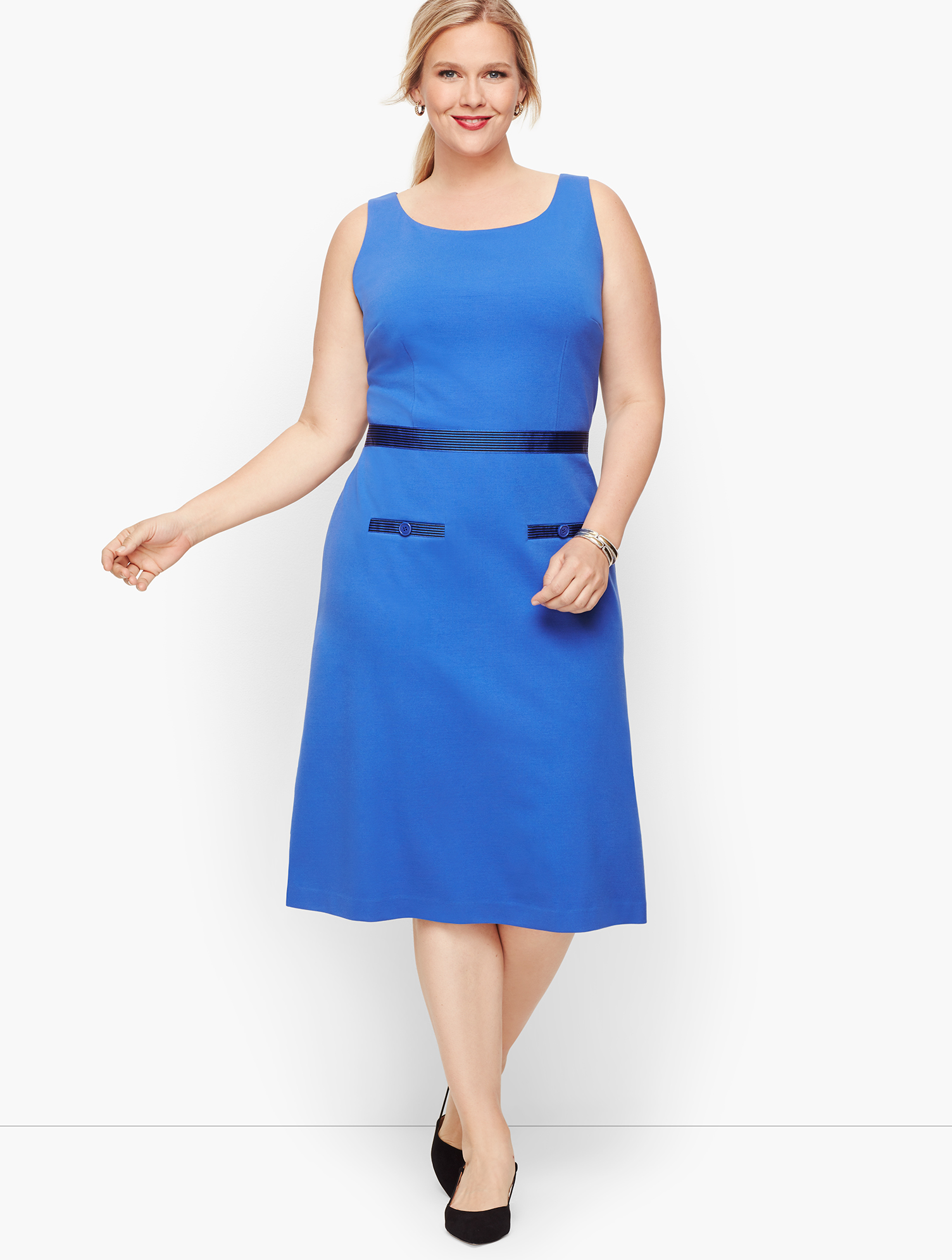 60s 70s Plus Size Dresses, Clothing, Costumes Ponte Grosgrain-trim Sheath Dress - Stripe - DEEP-PERIWINKLE - 22 - Talbots $119.99 AT vintagedancer.com