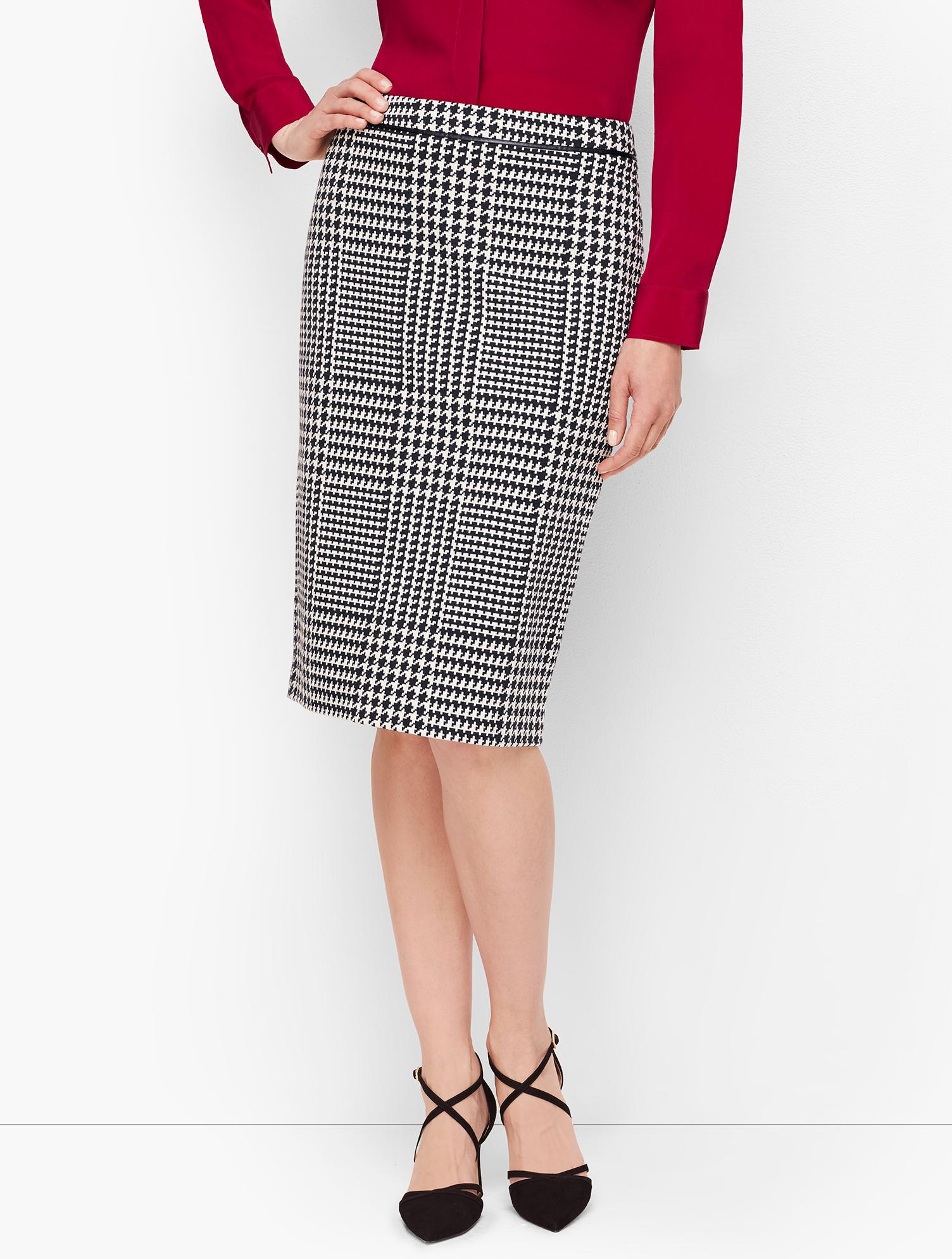 60s Skirts | 70s Hippie Skirts, Jumper Dresses Jacquard Pencil Skirt - BLACKWHITE - 16 - Talbots $55.69 AT vintagedancer.com