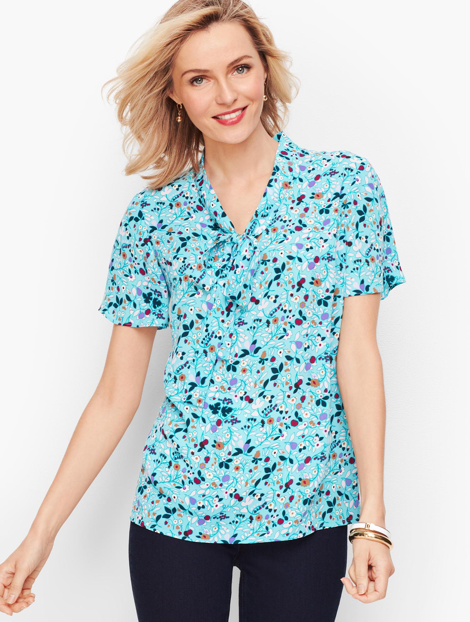 1930s Style Blouses, Shirts, Tops | Vintage Blouses Flutter Sleeve Tie Top - Floral - EGGSHELL-BLUE - XL - Talbots $79.50 AT vintagedancer.com