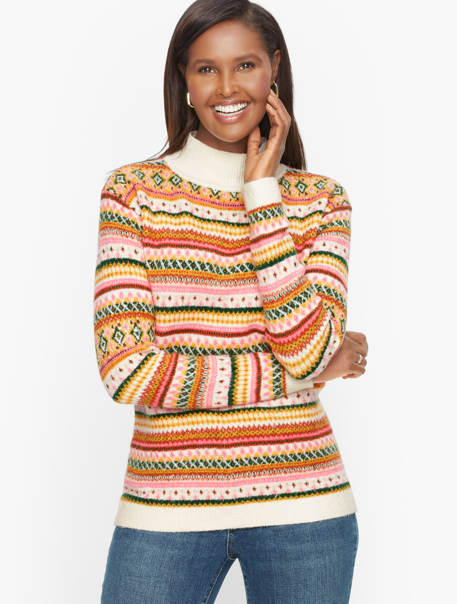 1960s Style Clothing & 60s Fashion Petite - Fair Isle Mockneck Pullover Sweater - Ivory - XL Talbots $99.00 AT vintagedancer.com