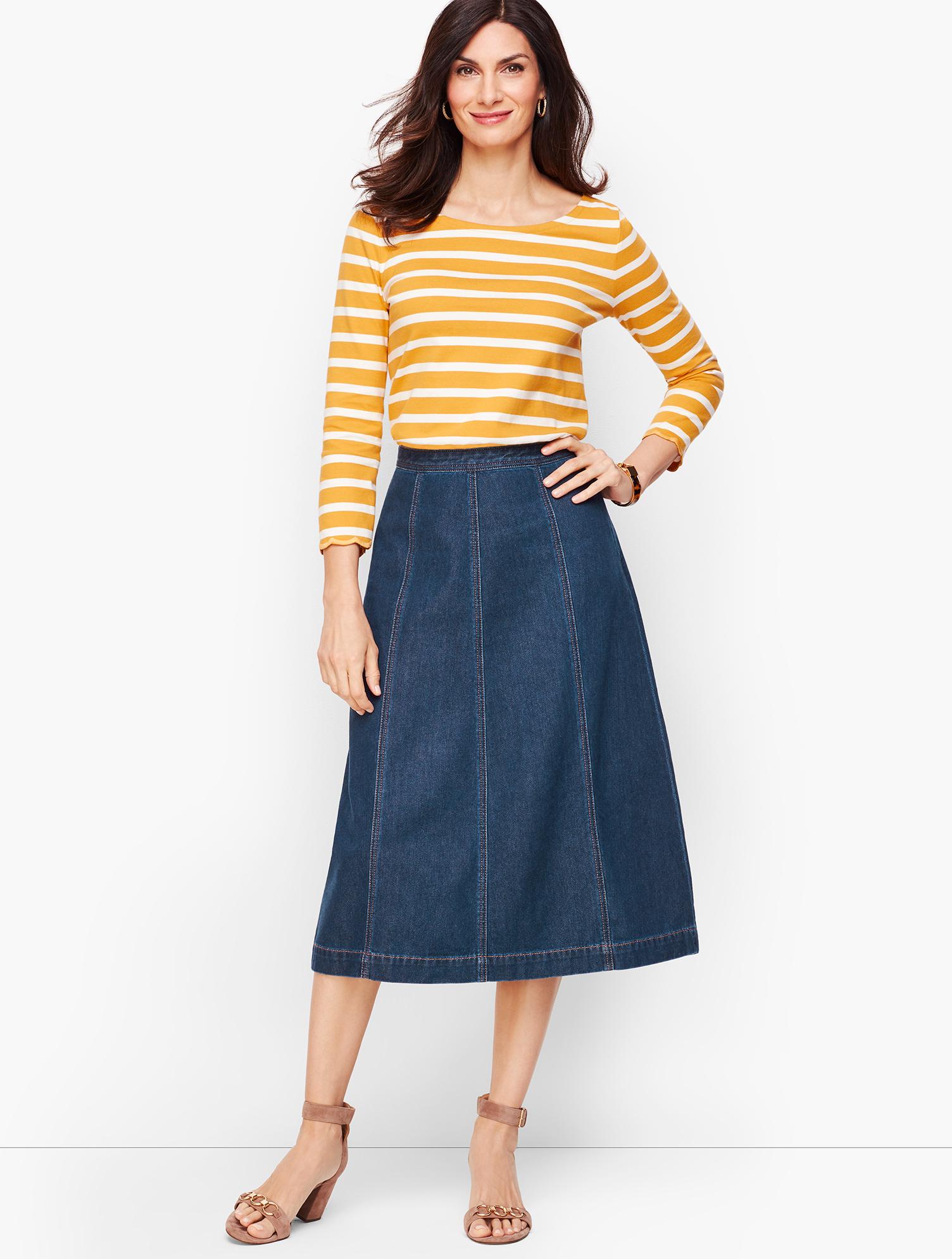 60s Skirts | 70s Hippie Skirts, Jumper Dresses Denim A-line Midi Skirt - DIANA-WASH - 16 - Talbots $74.25 AT vintagedancer.com