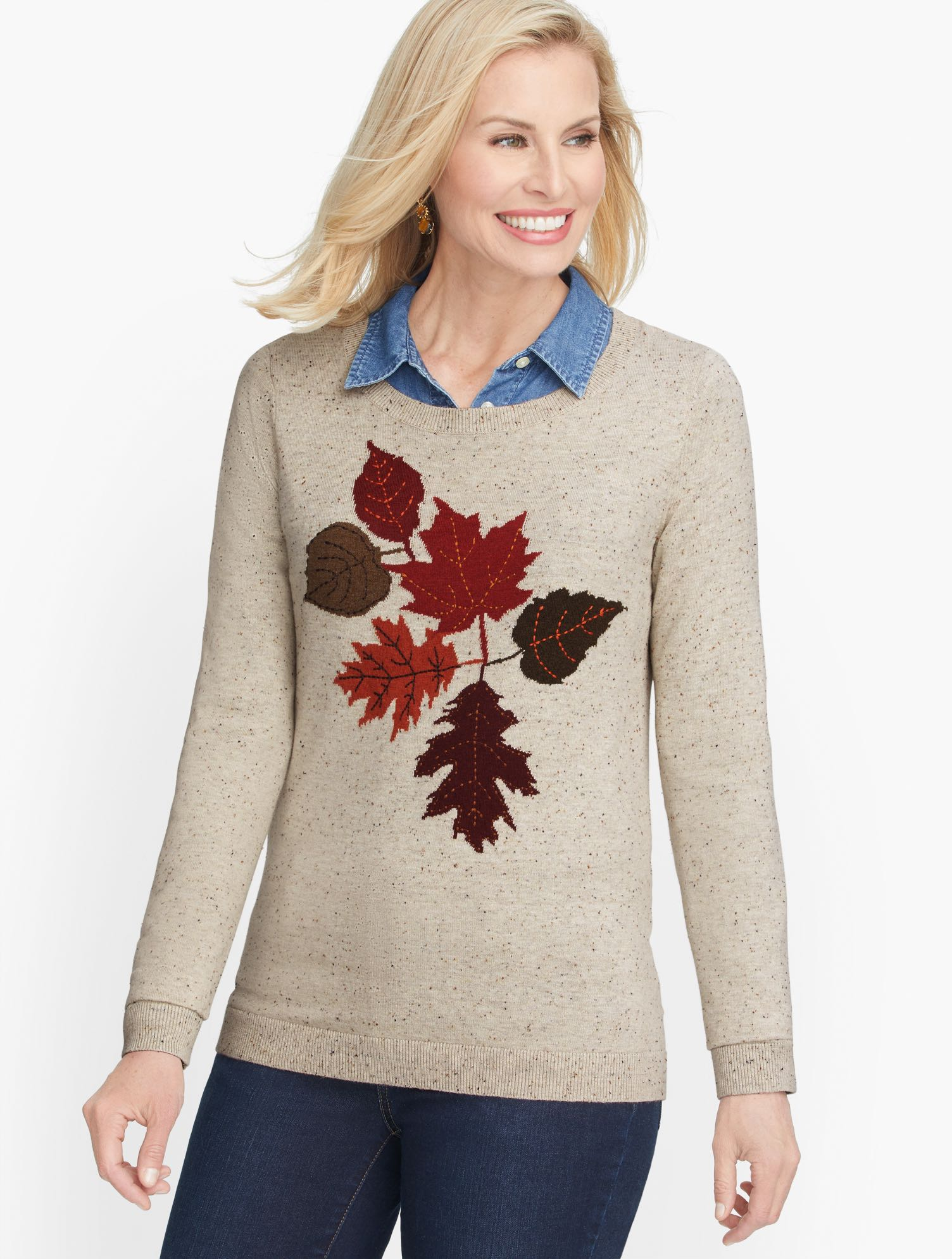 60s 70s Style Sweaters, Cardigans & Jumpers Leaf Motif Crewneck Sweater - Oatmeal Heather - 2X Talbots $99.00 AT vintagedancer.com