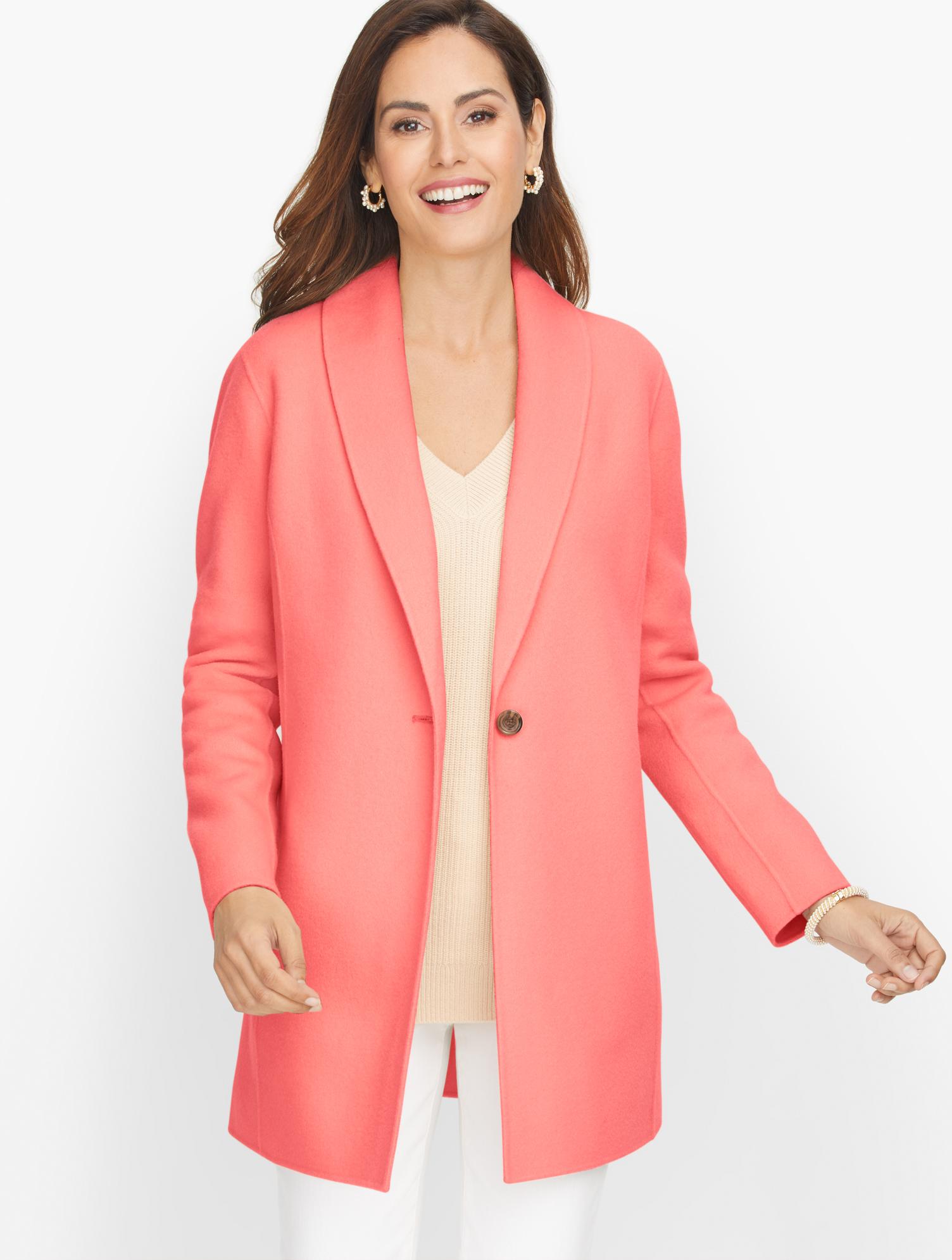 1920s Coats, Flapper Coats, 20s Jackets Shawl Collar Double Face Blazer - Coral Pink - 16 Talbots $289.00 AT vintagedancer.com