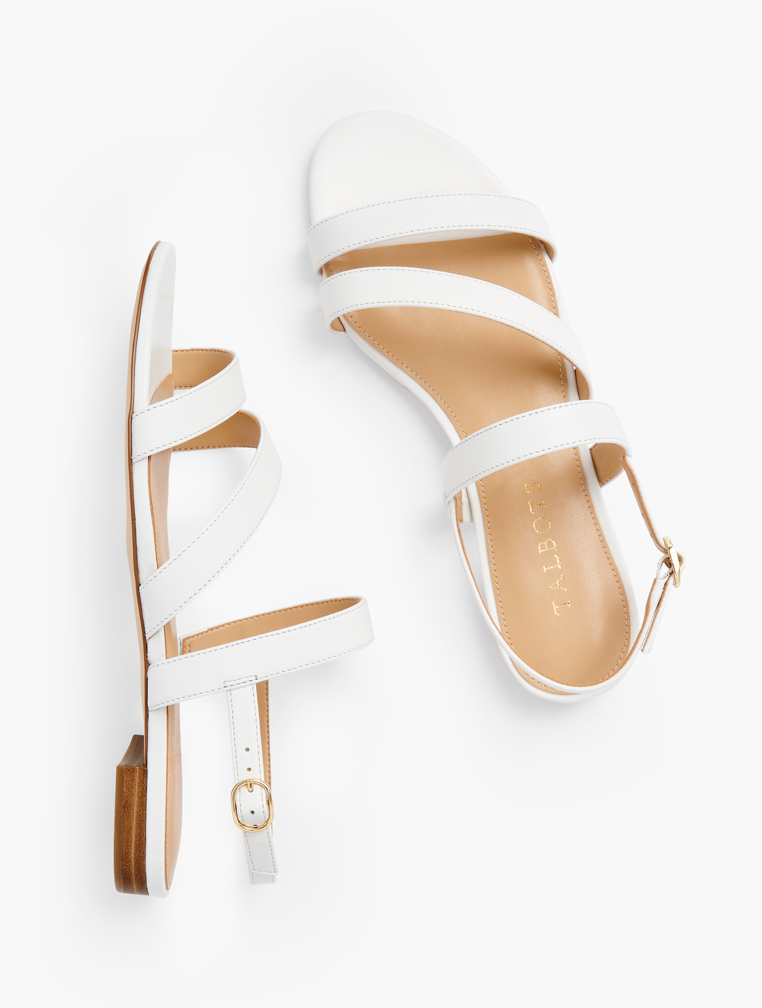 Easy elegance. Our Keri multi-strap sandals were made to be worn dressy or casual. Features 1/2 inches heelFlexible Non Skid Outsole9k Shiny Gold Hardware3Mm Memory Foam FootbedImported Material: 100% Leather Keri Multi Strap Sandals - Nappa - White - 11M Talbots