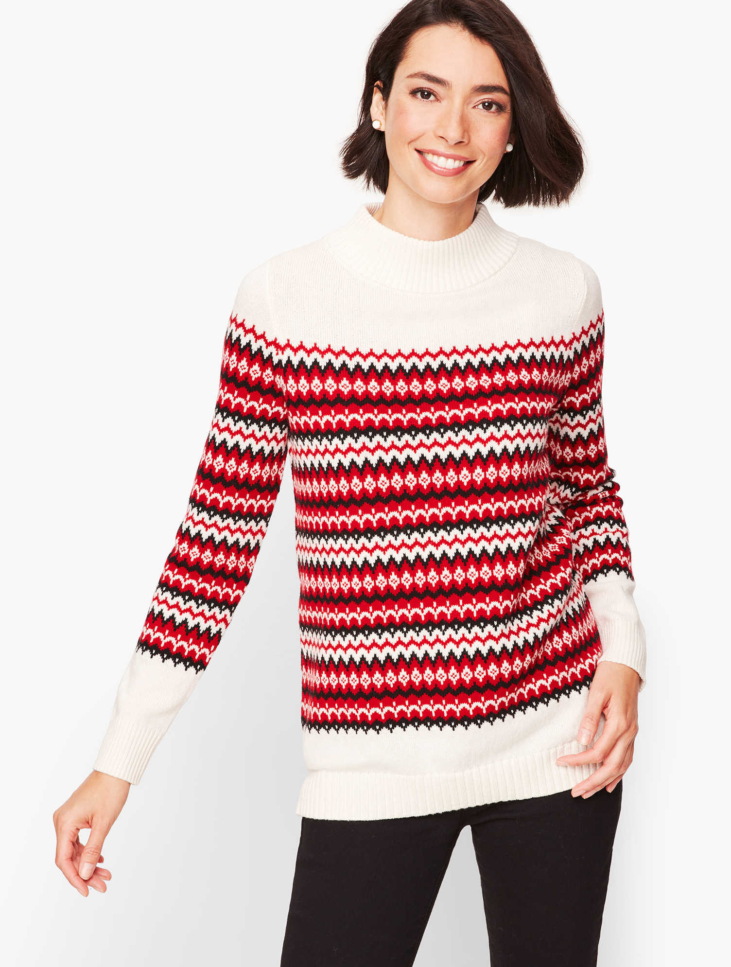 Ladies' Colorful 1920s Sweaters and Cardigans History Chalet Fair Isle Sweater - IvoryRed - XL Talbots $38.99 AT vintagedancer.com