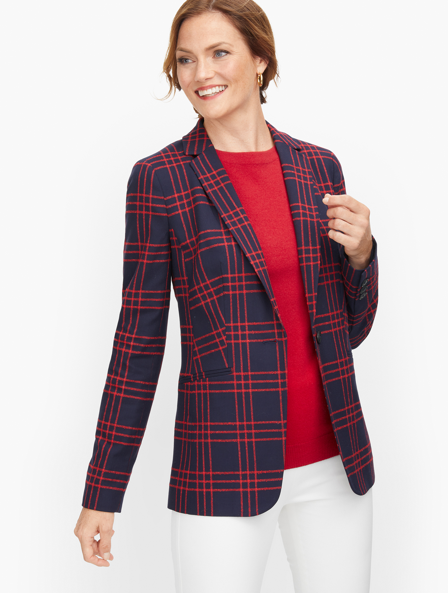 Vintage Coats & Jackets | Retro Coats and Jackets Bouclé Windowpane Blazer - Red - 16 Talbots $169.00 AT vintagedancer.com