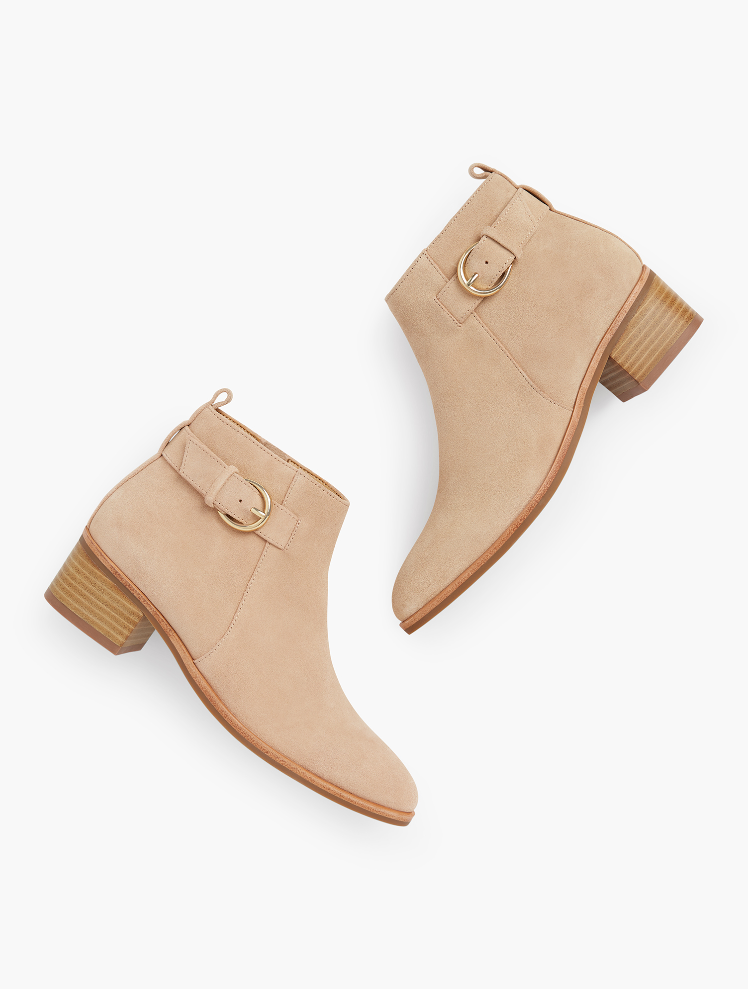 An ultra-low suede bootie perfect for ankle pants and beyond. Accessorized with a shiny gold buckle. features 1 1/2 inches Heel Memory Foam Footbed Imported Material: 100% Leather Via Buckle Booties - Suede - Rattan - 11M Talbots