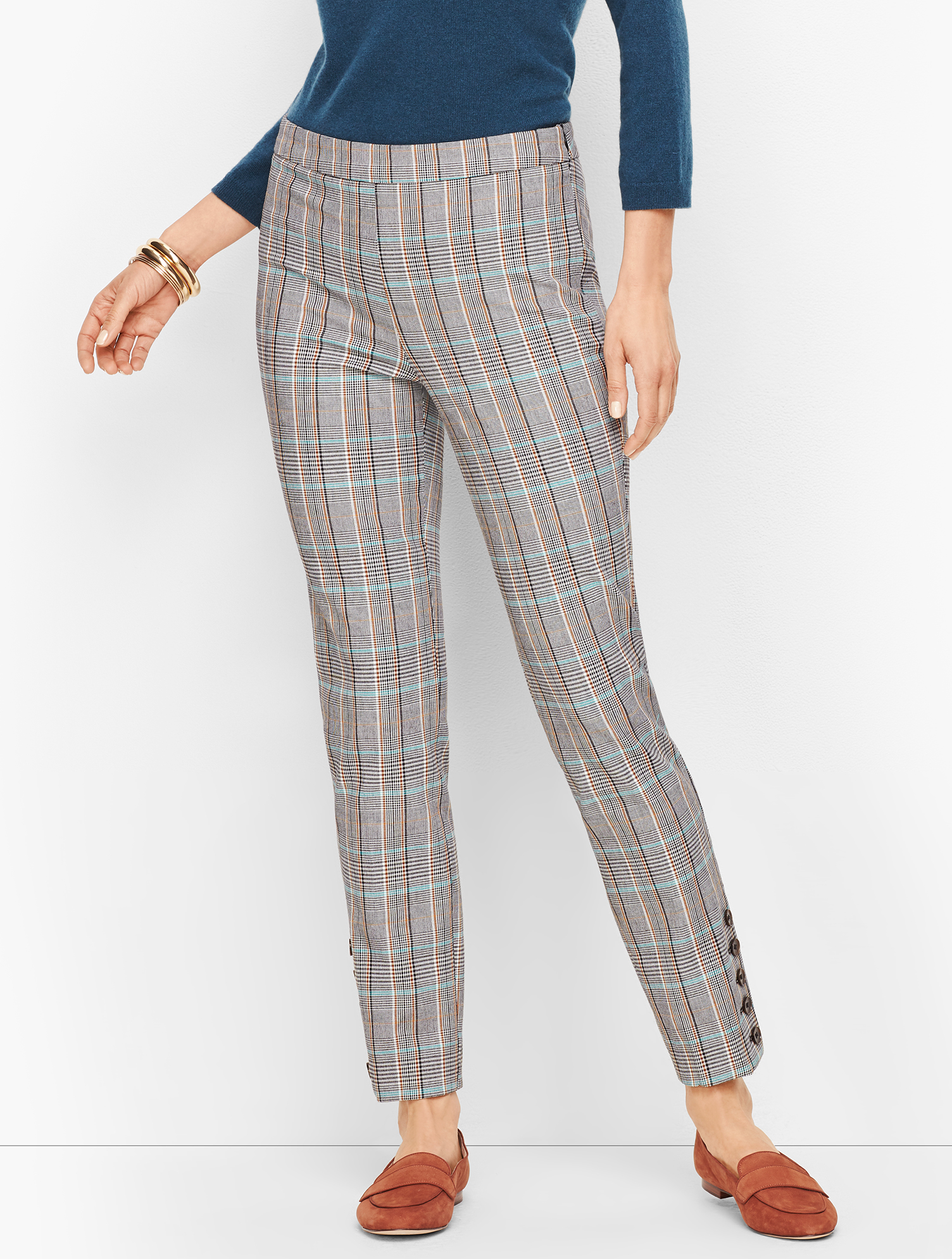 60s – 70s Pants, Jeans, Hippie, Bell Bottoms, Jumpsuits Talbots Chatham Button-Hem Ankle Pants - MacIntosh Plaid - Teal Blue - 12 $89.99 AT vintagedancer.com