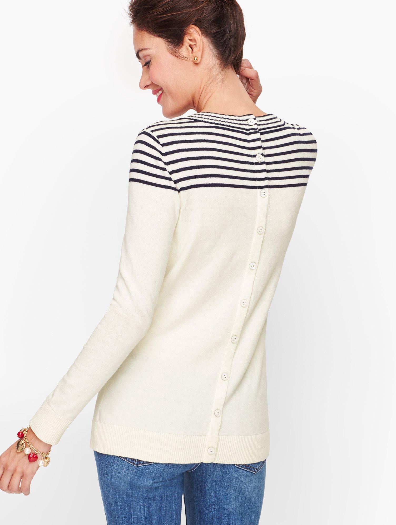 Button Back Heart Sweater | Talbots