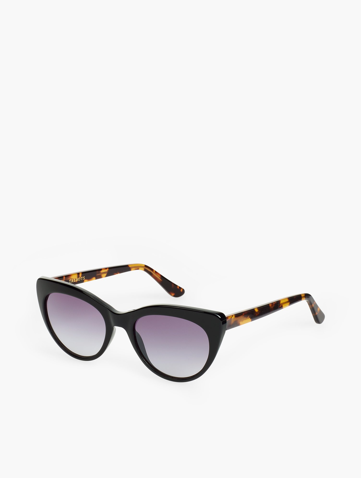 Retro chic is reinvented with cat-eye sunglasses. Features Frame Shape: Cat Eye Microfiber Pouch Imported Material: 100% Plastic Simone Sunglasses - Black/Tortoise - 001 Talbots