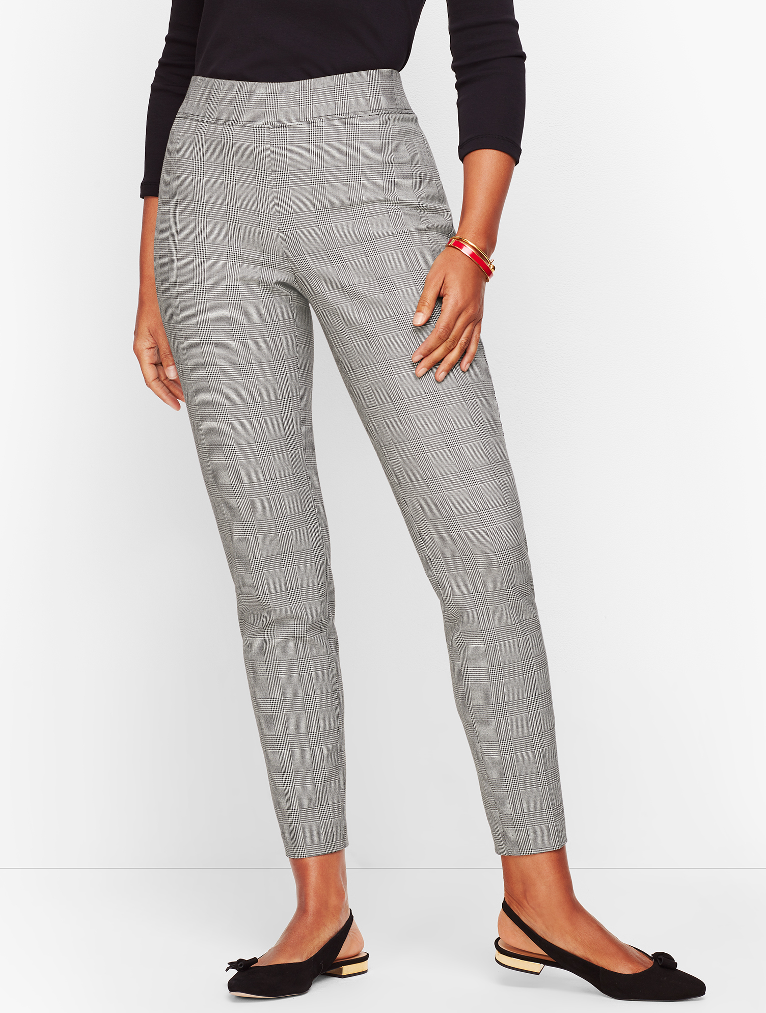 Vintage High Waisted Trousers, Sailor Pants, Jeans Talbots Essex Ankle Pants - Curvy Fit - Glen Plaid - IvoryBlack - 16 $44.99 AT vintagedancer.com