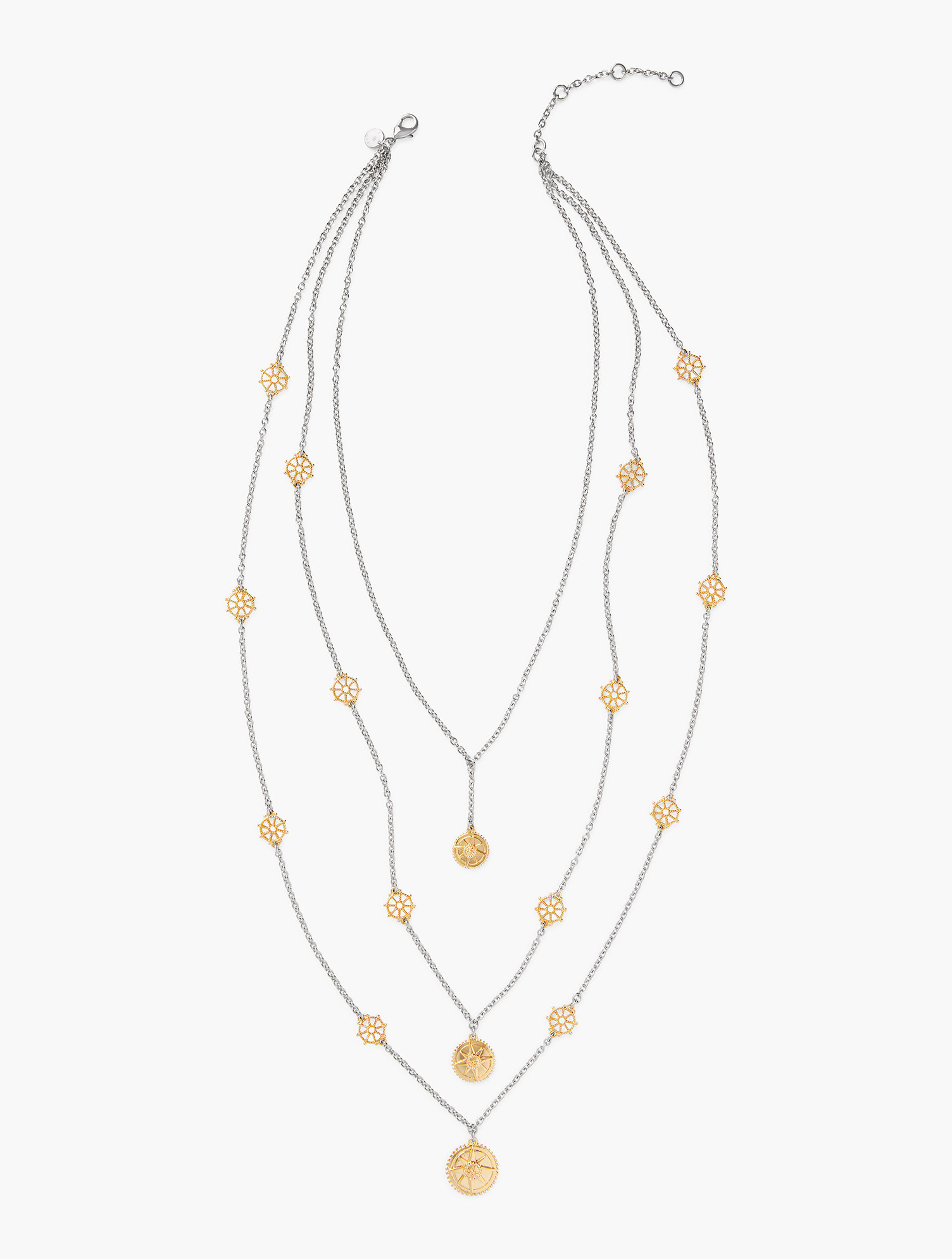 Gold metal wheels adorn this stunning layered style. Features Clasp: Lobster Imported Fit: 34 inches + 3 inches Extender Material: 50% Steel, 49% Zinc, 1% CZ Multi Tier Wheel Necklace - Gold/Silver - 001 Talbots