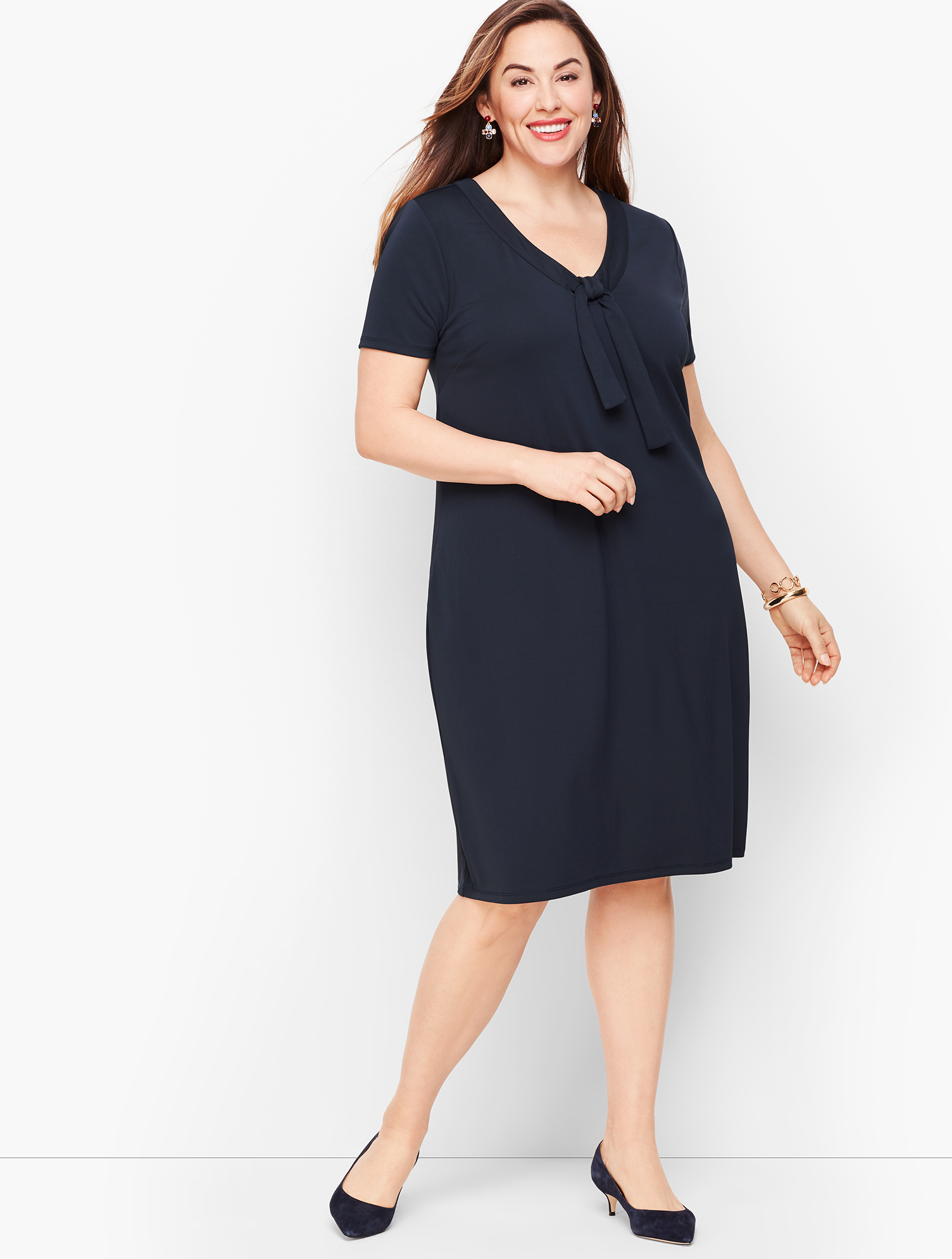 Old Fashioned Dresses | Old Dress Styles Knit Jersey Tie Neck Shift Dress - INDIGO-BLUE - 3X - Talbots $54.99 AT vintagedancer.com