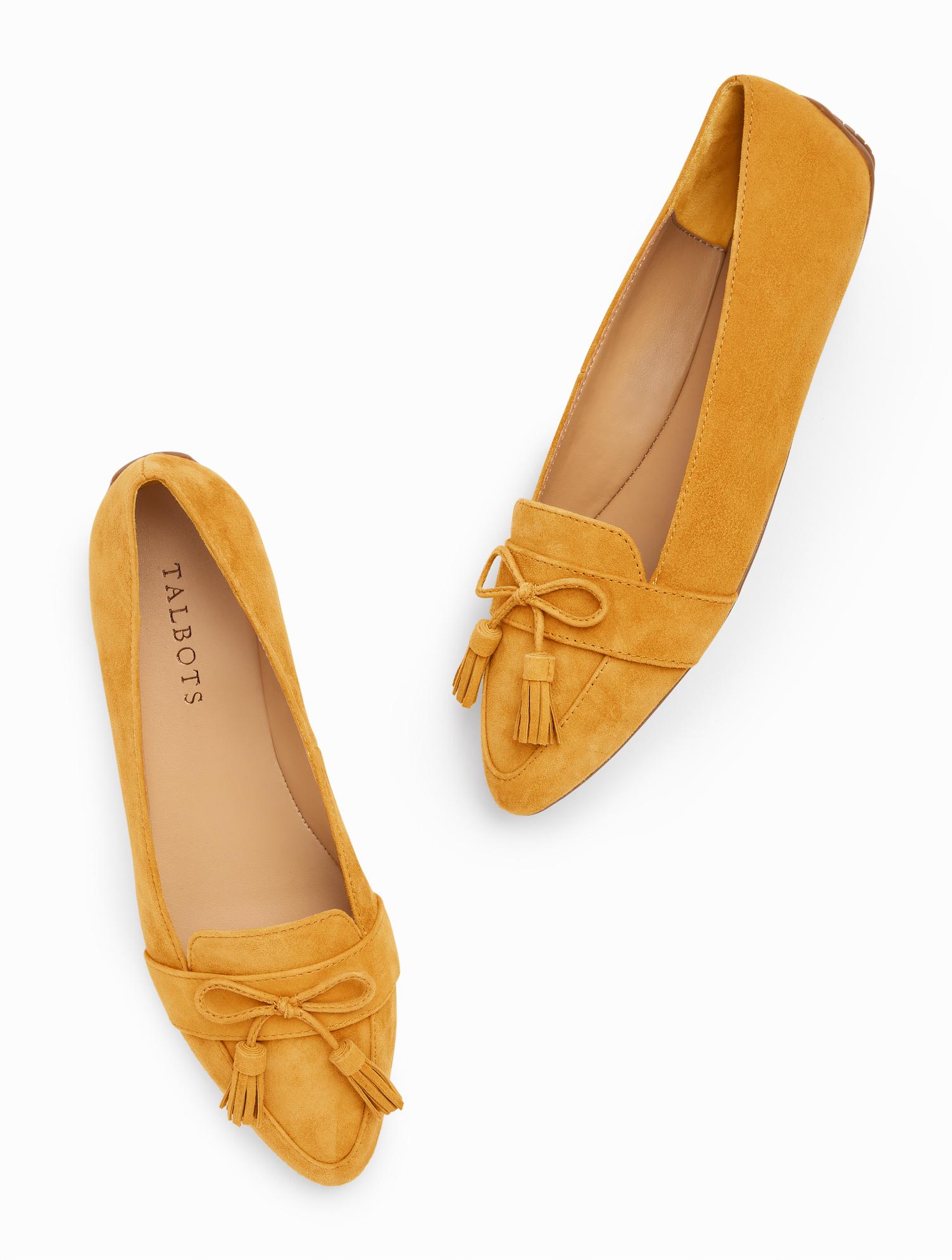 70s Shoes, Platforms, Boots, Heels | 1970s Shoes Francesca Driving Flats - Suede - Amber Gold - 11M Talbots $119.00 AT vintagedancer.com