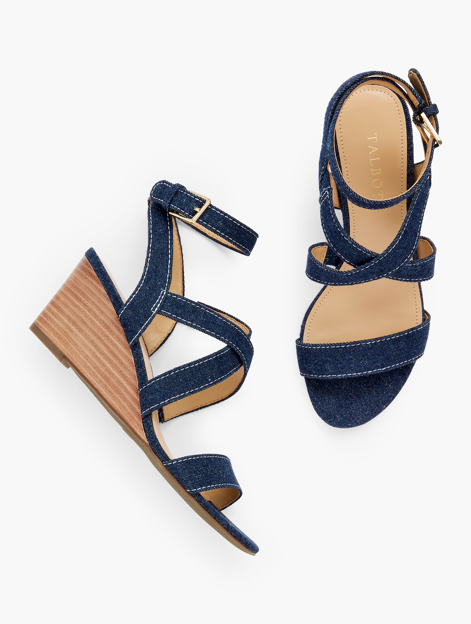 Easy to wear. Easy to pair. These strappy wedges in of-the-moment denim will become a warm weather staple in your wardrobe. Features Almond ToeNatural Stack Heel - Rubber Sole3MM Memory FoamImported Material: 100% Cotton Royce Strappy Wedges - Denim - Dark Denim - 11M - 100% Cotton Talbots