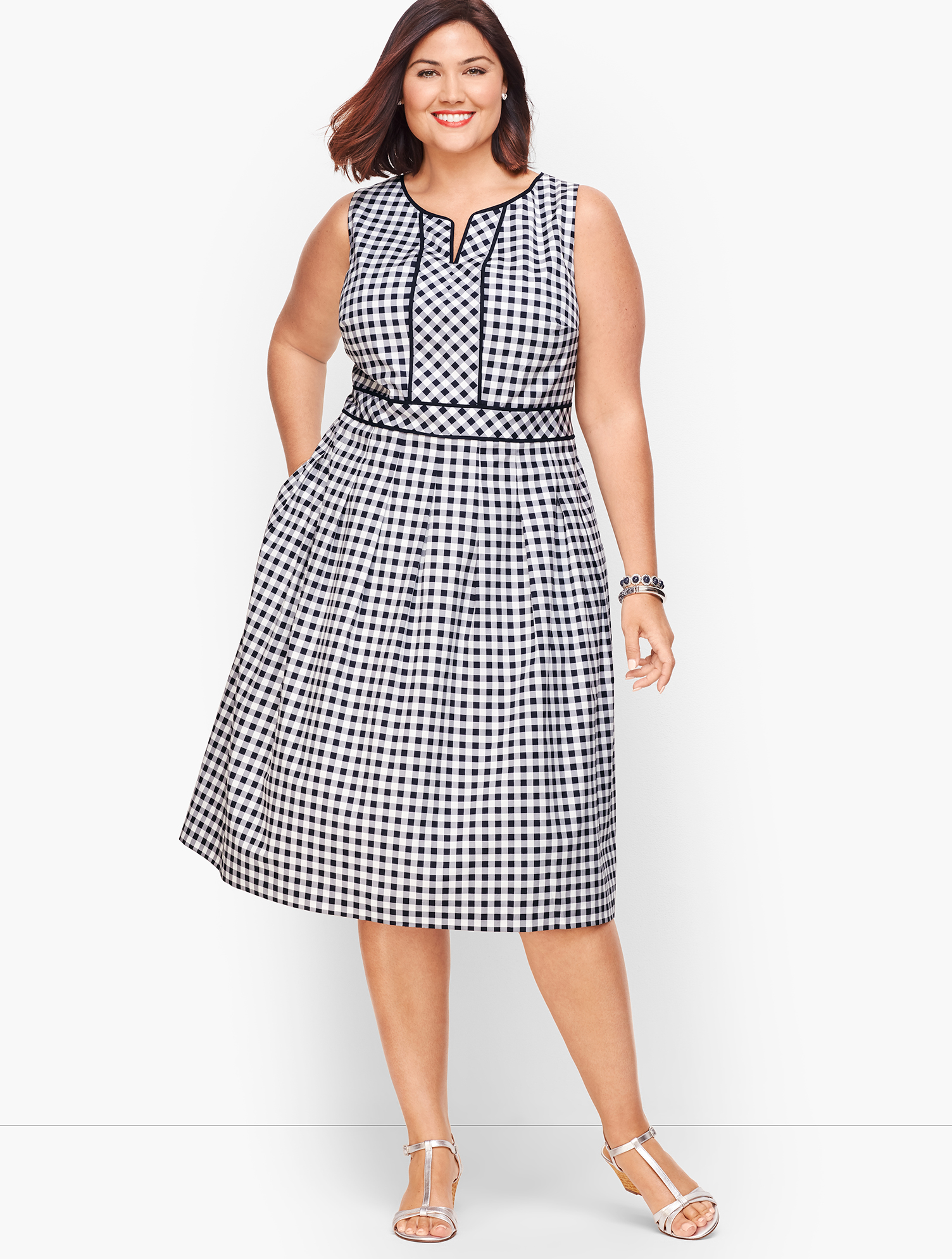 1920s Downton Abbey Dresses Gingham Fit  Flare Dress - INDIGO-BLUEWHITE - 22 - Talbots $149.00 AT vintagedancer.com