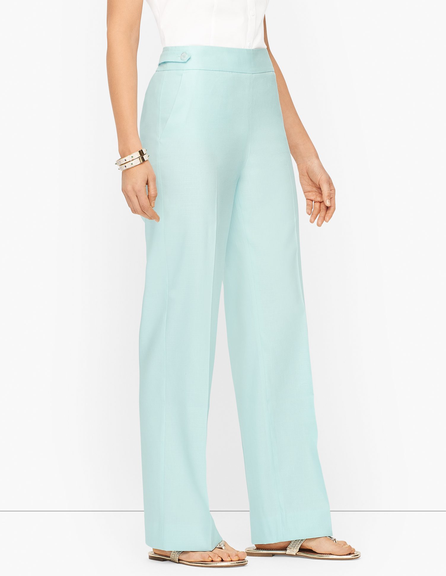 1960s Pants – Top 10 Styles for Women Palazzo Pants - Curvy Fit - Sea Opal - 16 Talbots $119.00 AT vintagedancer.com