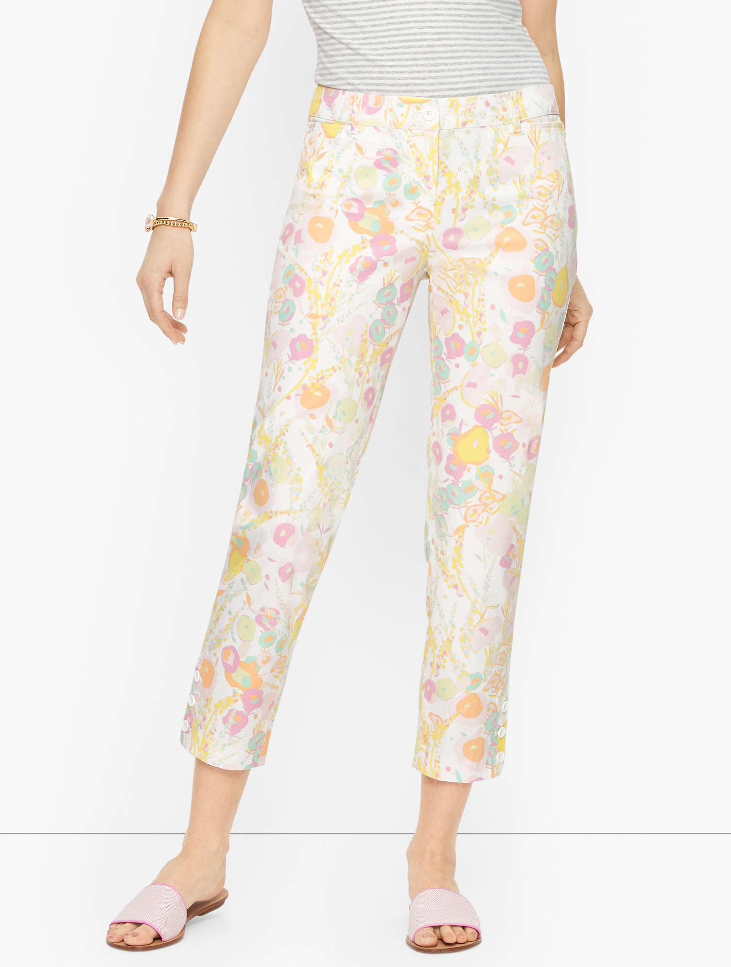 60s Mod Clothing Outfit Ideas Perfect Crops Pants - Abstract Floral - White - 22 Talbots $99.00 AT vintagedancer.com