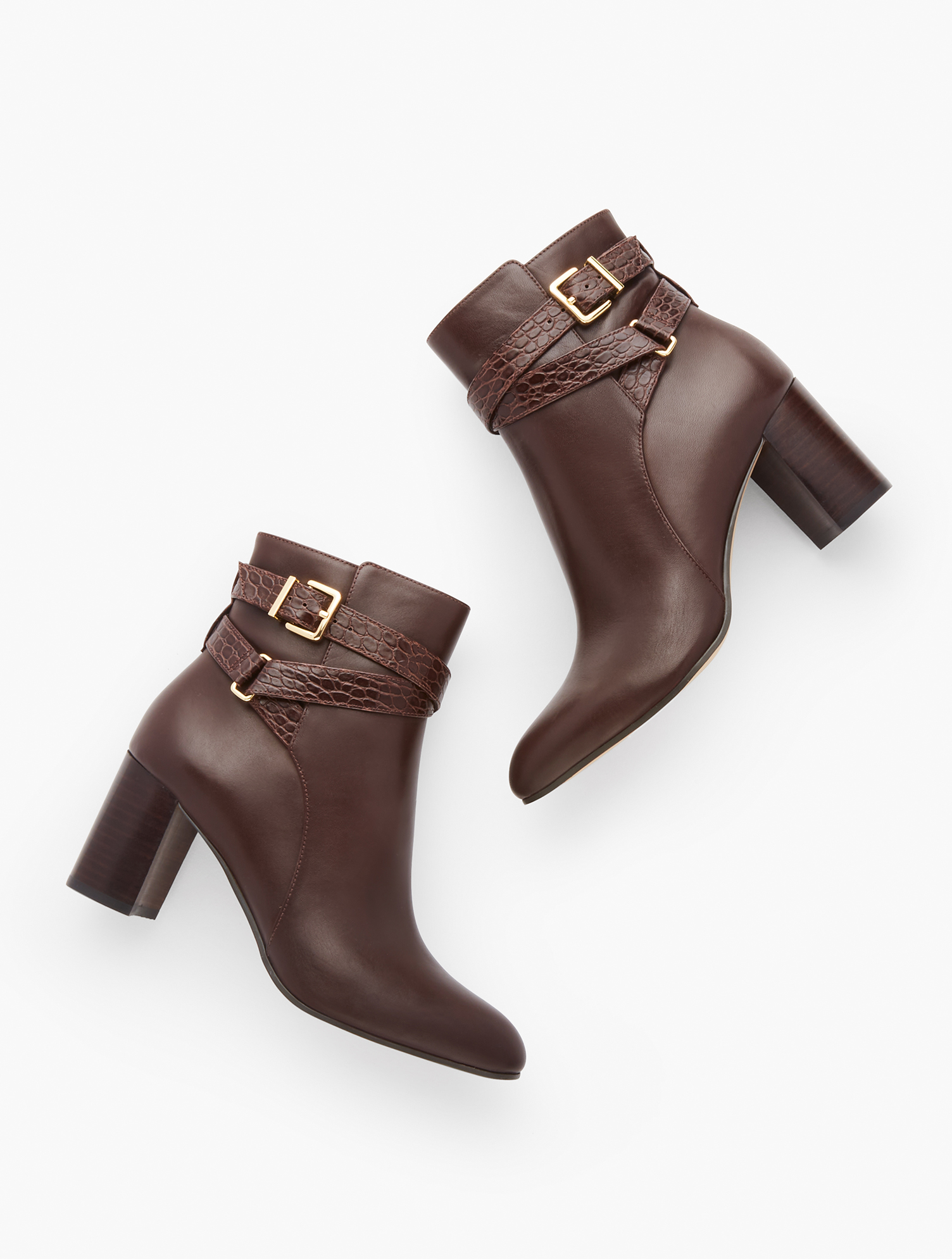 Versatile leather booties with a sleek silhouette, feminine flare heel and almond-shaped toe. Inside-step zip allows for easy on and off. Features 3 inches heelAlmond toe3MM Memory foam footbedImported Material: 100% Leather Simone Vachetta Ankle Boots - Dark Brown - 11M Talbots