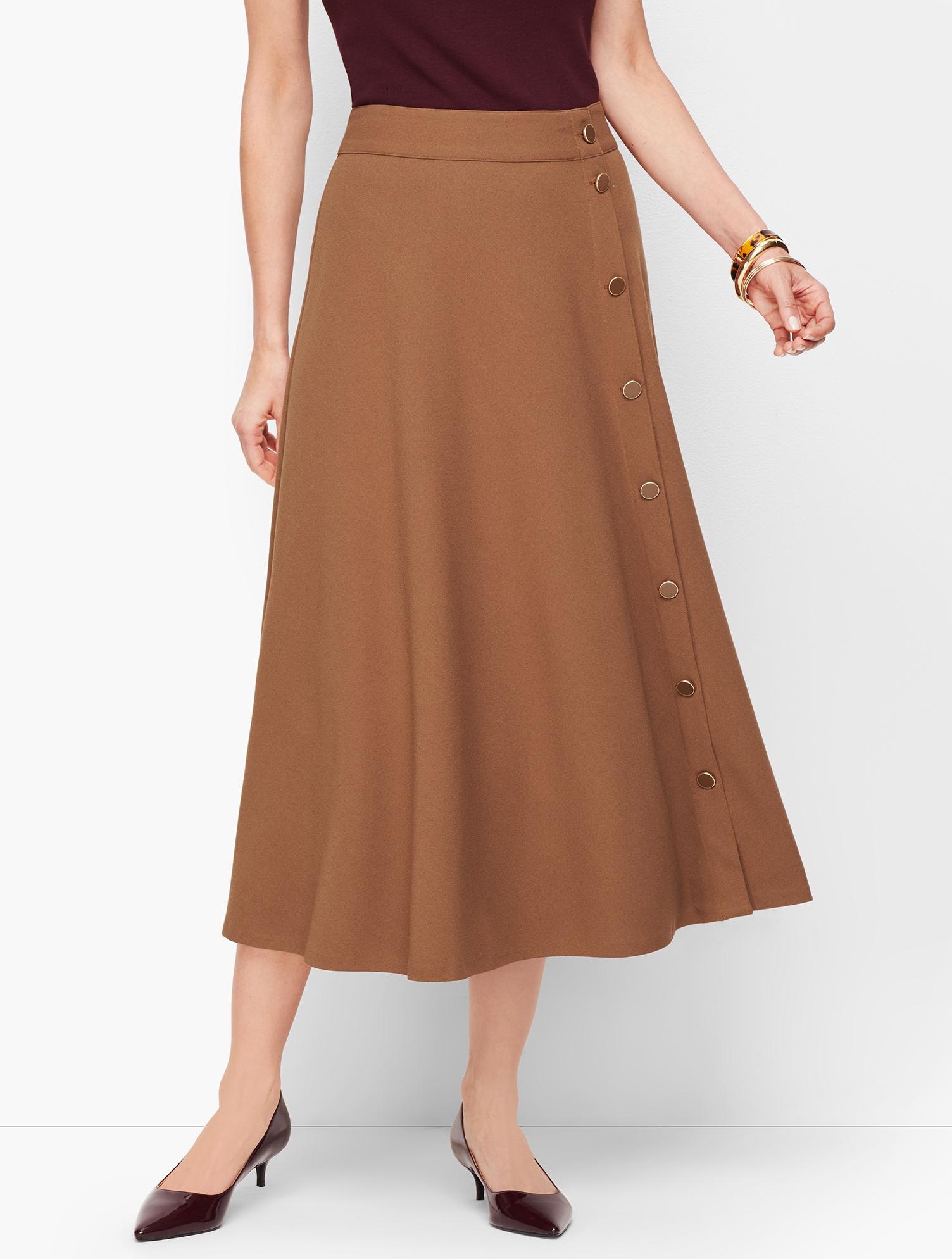 60s Skirts | 70s Hippie Skirts, Jumper Dresses Stretch Crepe Midi Skirt - BROWN-SUGAR - 16 - Talbots $119.00 AT vintagedancer.com