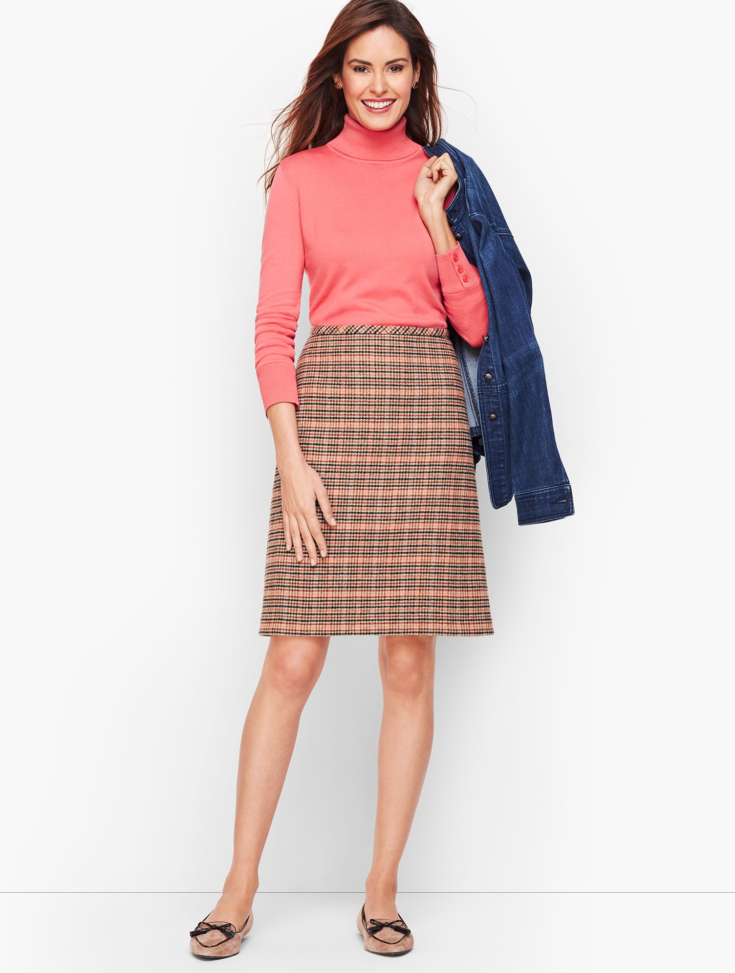 Retro Skirts | Vintage, Pencil, Circle, & Plus Sizes Plaid Wool A-Line Skirt - Spiced Coral - 12 Talbots $69.99 AT vintagedancer.com